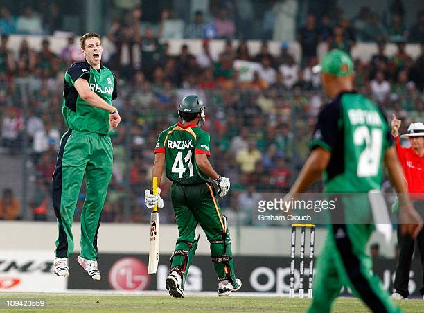 Boyd Rankin of Ireland celebrates when he thought he had Abdur Razzak of Bangladesh out LBW The decision was verturned on appeal during the 2011 ICC...