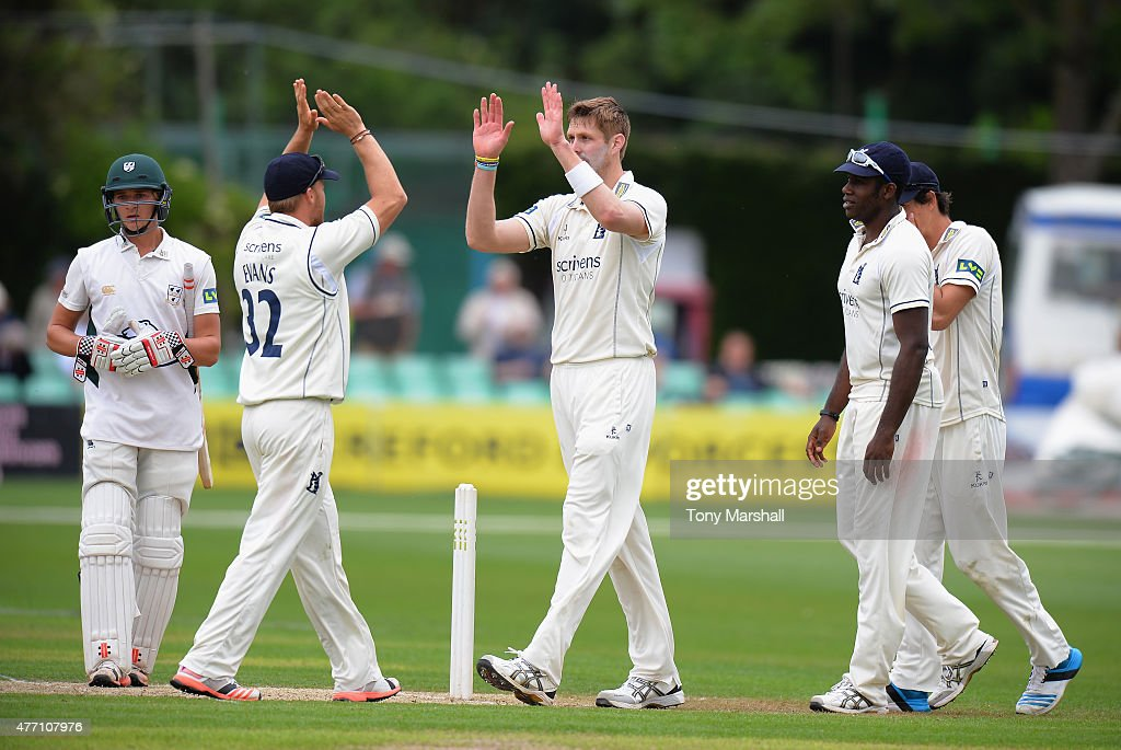 Boyd Rankin of Warwickshire celebrates catching out Joe Leach of Worcestershire during the LV County Championship match between Worcestershire and...