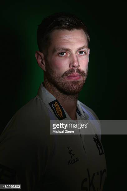 Boyd Rankin of Warwickshire poses for a portrait during the Warwickshire CCC photocall at Edgbaston on April 3 2014 in Birmingham England