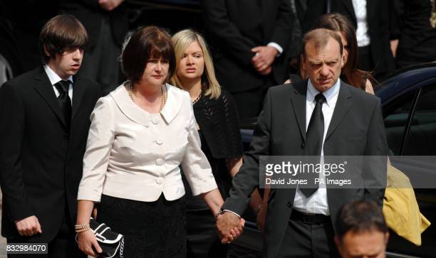 boyfriend Ryan Garside mother Julia Hawker sister Lisa and father Bill Hawker at the funeral sevice of Lindsay Ann Hawker at Coventry Cathedral