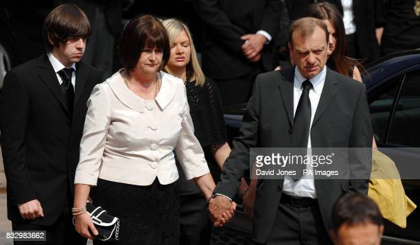 boyfriend Ryan Garside mother Julia Hawker sister Lisa Hawker and father Bill Hawker at the funeral service of Lindsay Ann Hawker at Coventry...
