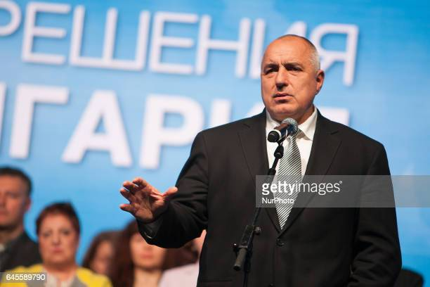 Boyko Borisov leader of Bulgarian centre right GERB party speaks during their openening meeting where the candidates for MPs were presented in the...