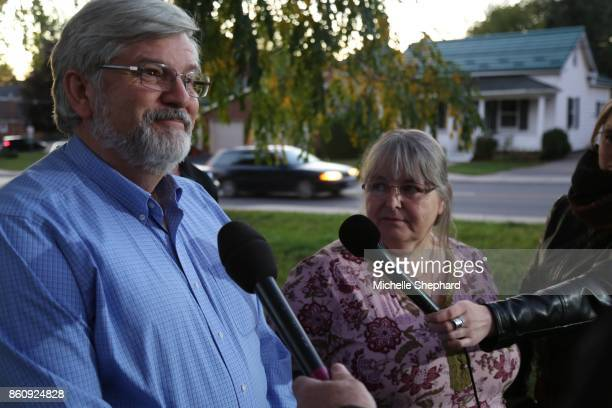 Boylepresser Patrick Boyle speaks to the media outside their Smith Falls Ont home while his wife Linda looks on