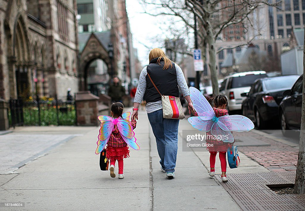 Boylston Street is now open to the public. Life returns to the traumatized city street, as two young girls head off to school in angel wings.
