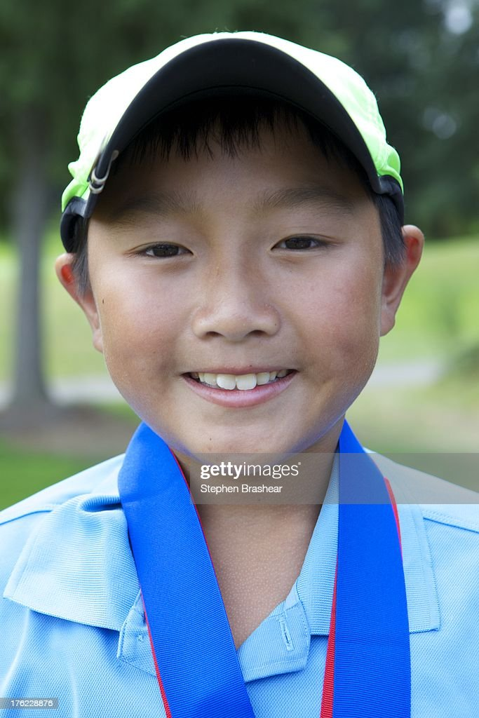 Boys 10-11 overall winner Ethan Tseng is pictured during the Drive, Chip and Putt Regional Championship at the Golf Club at Hawks Prairie Championship August 11, 2013 in Lacey, Washington.