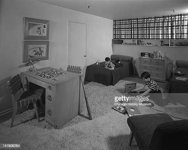Boy's Bedroom With Models in Marshall Field Company Chicago Illinois March 13 1947