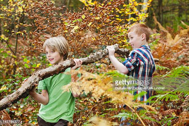 Boys carrying log in forest