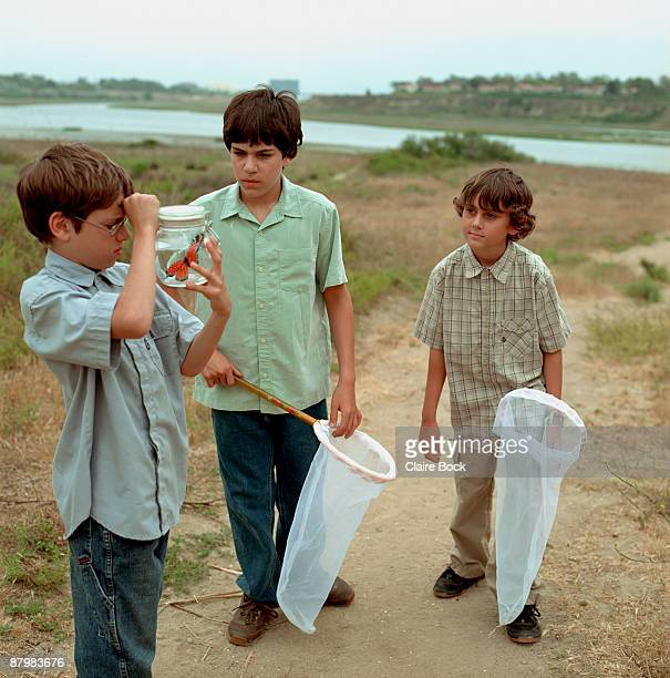 Boys catching butterfly with nets and jar