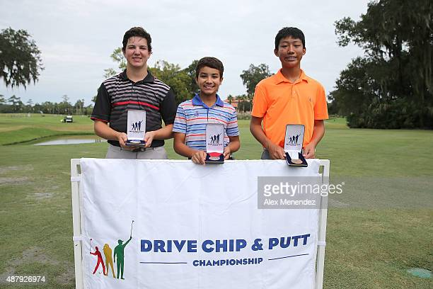 Boys category age 1415 putting winners from left are Kason Partridge first place Johnny Wright second place and Derek Li third place during the...
