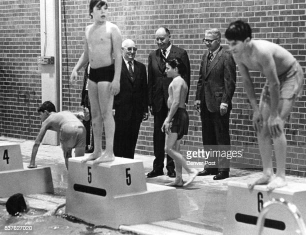 Boys' Club of Denver Dedicate Swimming Pool Monday at Owen Branch 3480 W Kentucky Ave From left James Howell contractordesigner of the Owen branch J...