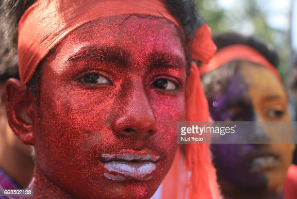 Boys coloured their face joined in a rally to celebrate Bengali New Year 1424 in Dhaka Bangladesh on April 14 2017 People across the country are...