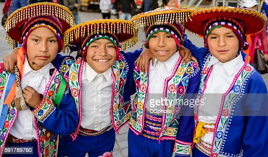 Boys dressed in traditional Peruvian costumes : Stock Photo