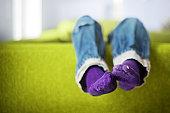 Boy's feet with socks