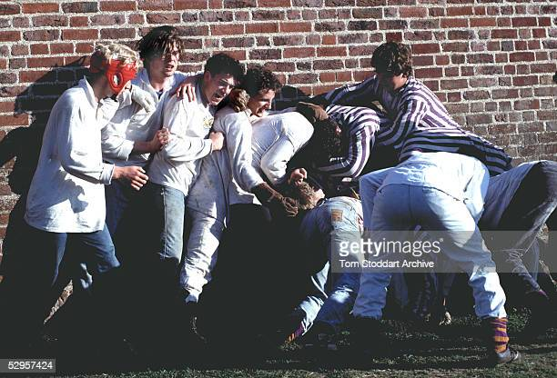 Boys from Eton School pictured during the annual Eton Wall Game