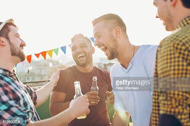 Boys having drinks and fun