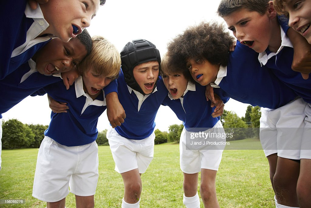 Boys in a rugby scrum