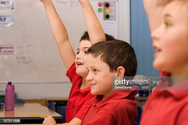 Boys in school building: education classroom child