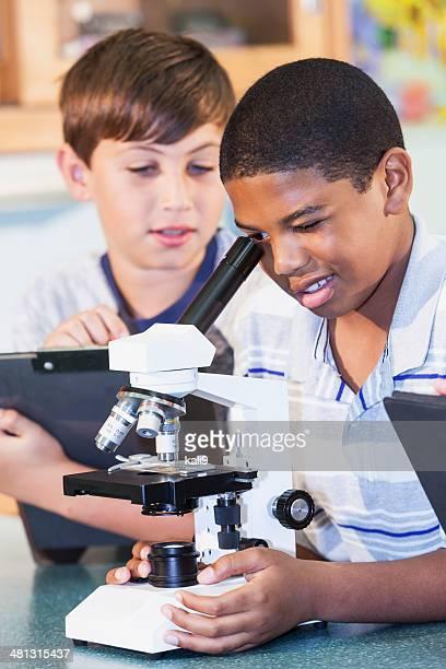 Boys in science class