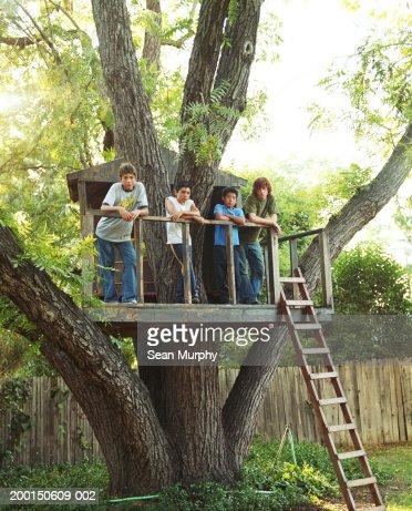 Boys (11-15) in tree house : Foto de stock