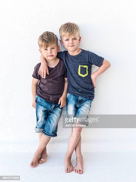 Boys looking at camera