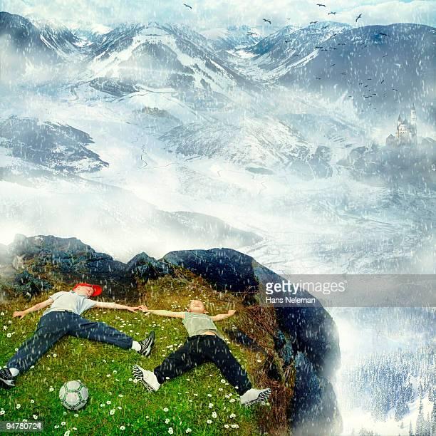 Boys lying on a mountain, Republic of Ireland