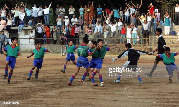Boys Of St Mary's celebrating their victory against Don Bosco in the final of MSSA Boys U10 Div I At Azad Maidan On Tuesday
