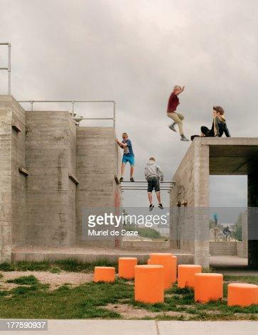 Boys on parkour playground