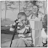 Boys play outdoors at home for Blind Children in Washingotn DC