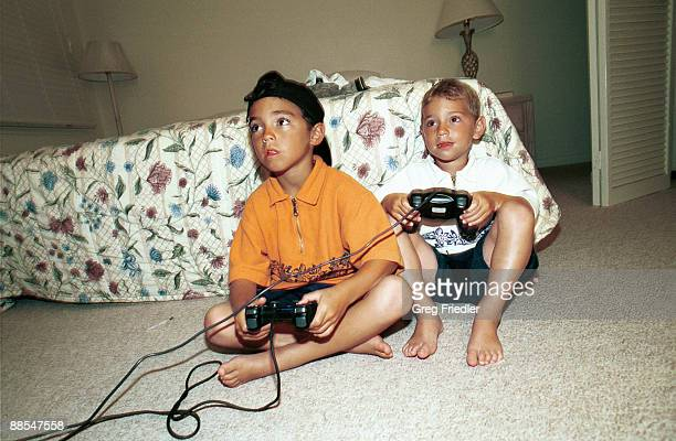 Boys playing a video game