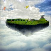 Boys playing on an island levitating in the sky, Republic of Ireland