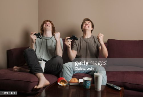 Man Cave Putney : Boys playing video game stock photo getty images