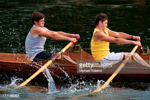 Boys rowing in a regatta