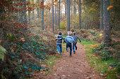 Boys running through forest