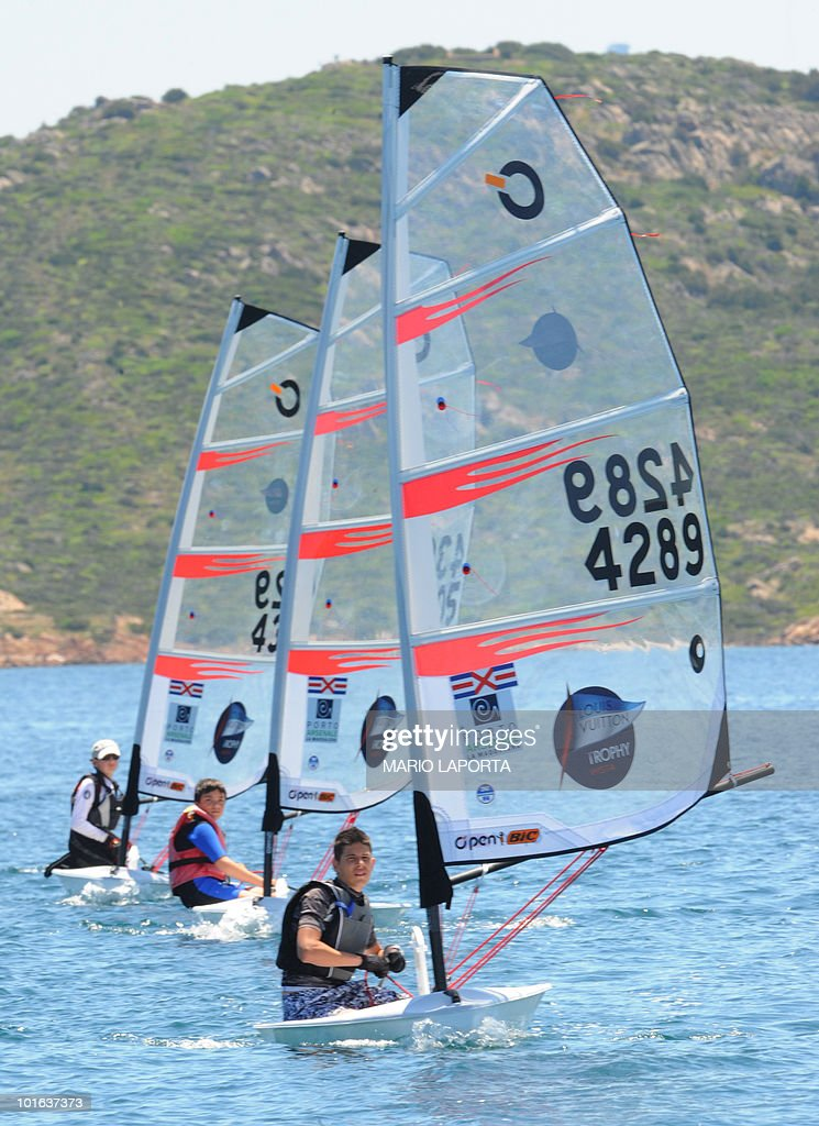 Boys sail during the Louis Vuitton Younth Trophy on June 5, 2010 off La Maddalena island in Sardinia. The winniers will join on June 6 the Louis Vuitton Trophy, a two-week regatta that started on May 22 and ends on June 6.
