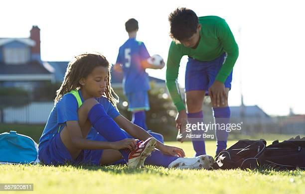 Boys soccer team preparing for a game