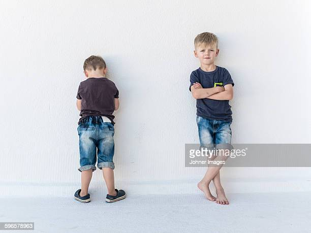 Boys standing against wall