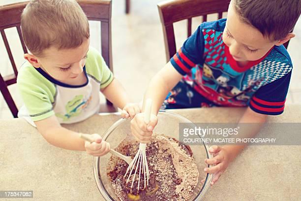 2 Boys Stirring Brownie Mix