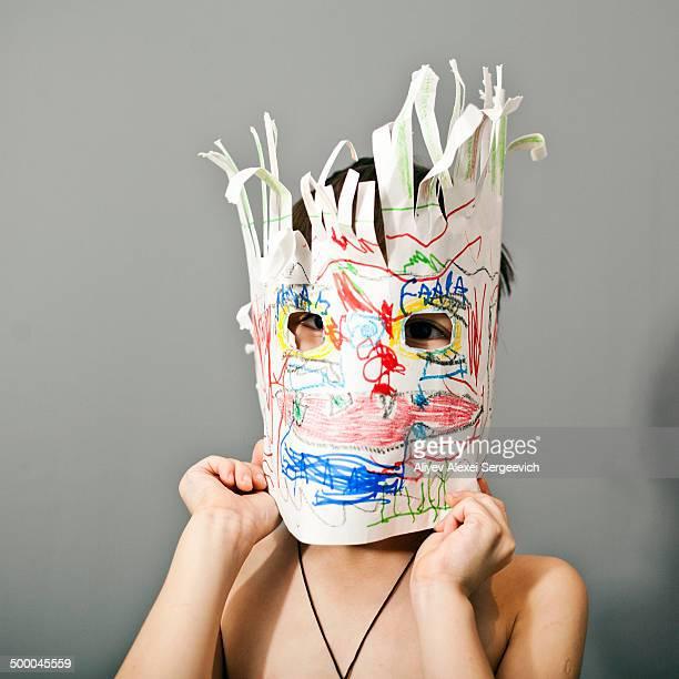 Boys wearing colorful mask