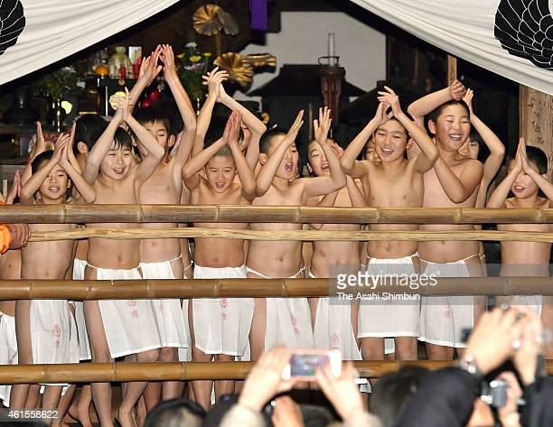 Boys wearing shitaobi loincloths dance in hope of good harvest and good health during the 'Hadaka Odori' Naked Dance at Hokaiji Temple on January 14...