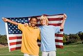 Boys with American flag
