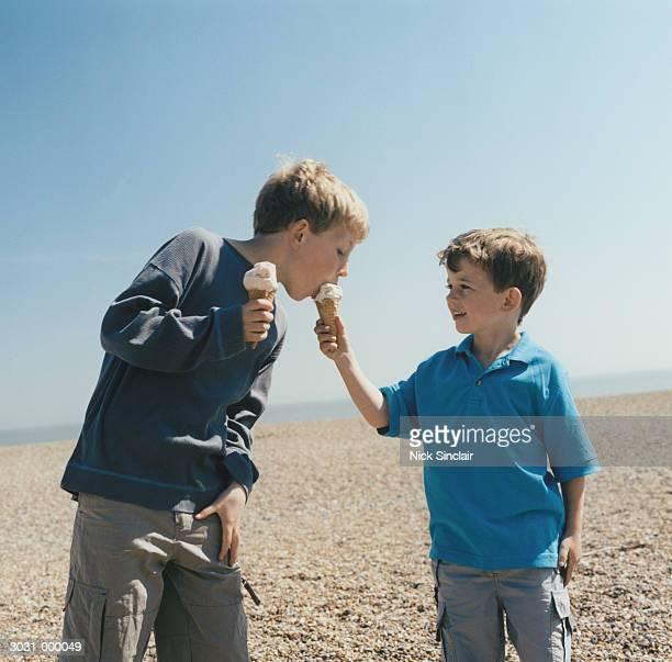 Boys with Ice Cream on Beach