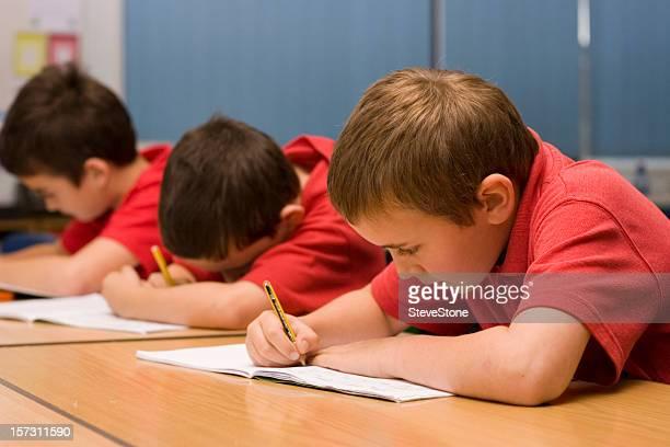 Boys writing