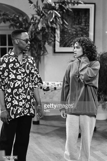 AIR 'Boyz in the Woods' Episode 8 Pictured Jeffrey A Townes as Jazz Karyn Parsons as Hilary Banks Photo by Alice S Hall/NBCU Photo Bank