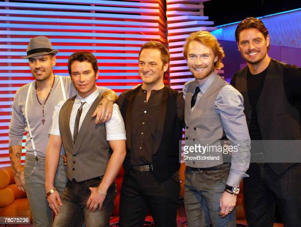Boyzone members Shane Lynch Stephen Gately Mikey Graham Ronan Keating and Keith Duffy attend RTE's The Late Late Show at RTE Studios on November 23...