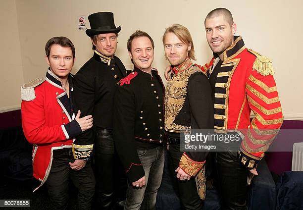 Boyzone members Stephen Gately Keith Duffy Mikey Graham Ronan Keating and Shane Lynch pose backstage prior to their pretour gig their first show...
