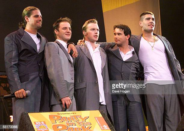 Boyzone on stage during Capital FM's Party in the Park 1999 in Hyde Park London on the 4th of July 1999
