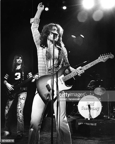 Boz Burrell and Paul Rodgers of Bad Company perform live on stage in Amsterdam Holland in 1974