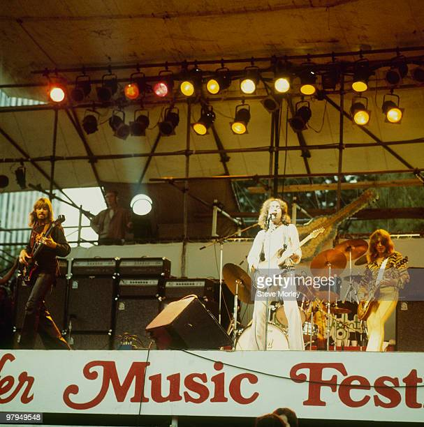 Boz Burrell Paul Rodgers and Mick Ralphs of Bad Company perform on stage at the Schaefer Music Festival held in Central Park New York City on...