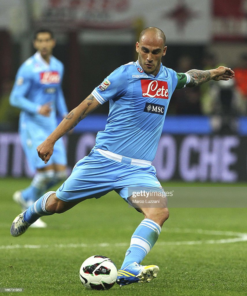 BPaolo Cannavaro of SSC Napoli in action during the Serie A match between AC Milan and SSC Napoli at San Siro Stadium on April 14, 2013 in Milan, Italy.