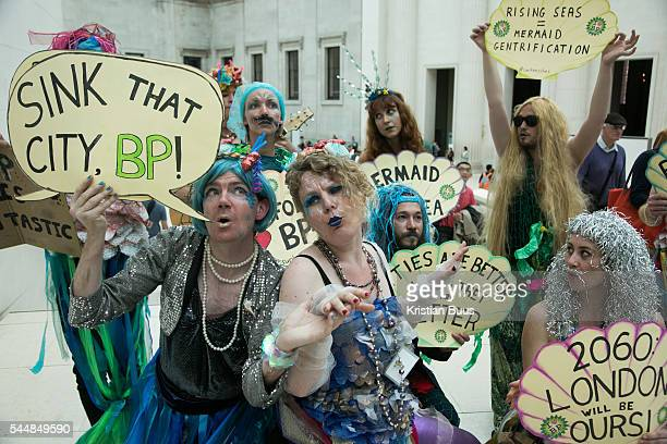 BpornotBp stage a splash mob dressed as merfolk at the British Museum in protest against the continued sponsorship by the oil company Bp in...